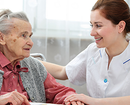 Health care worker with Elderly Lady