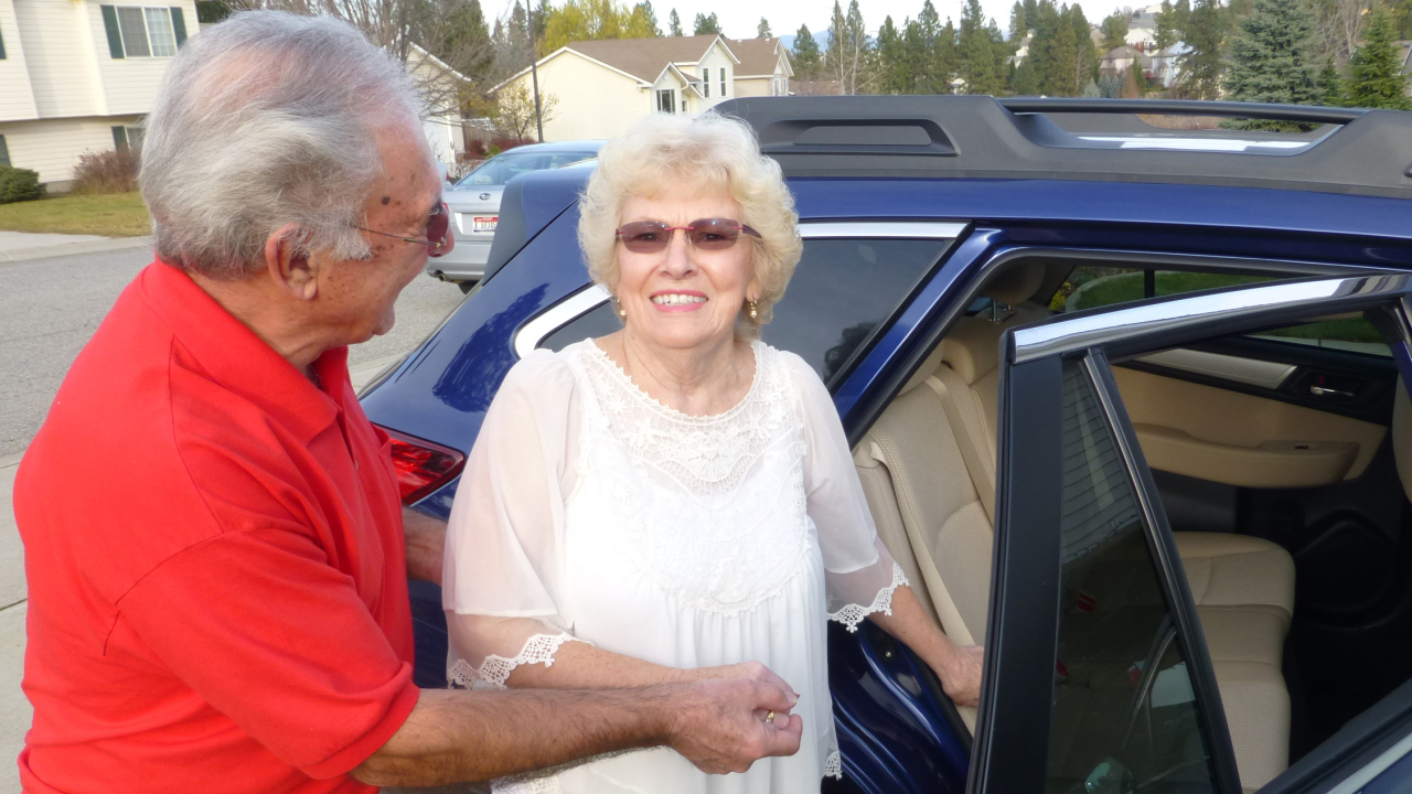Arrive Ride Elderly Couple Entering Car